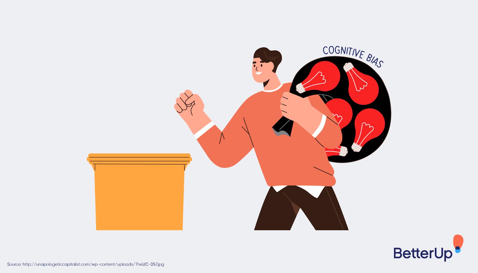 person-putting-cognitive-bias-into-a-trash-can-cognitive-bias