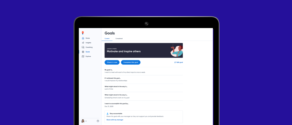 image of Goals screen
