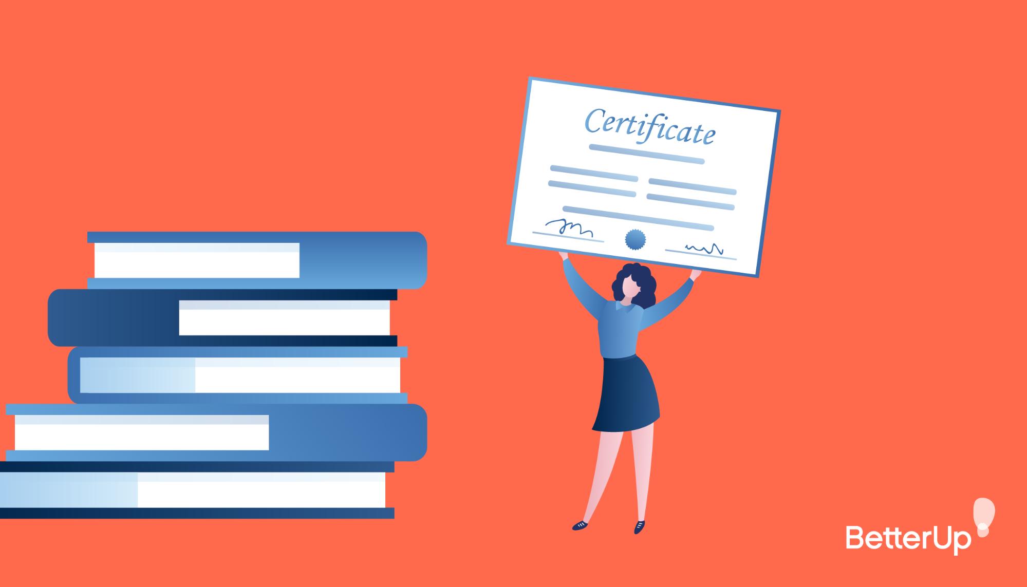 cartoon woman holding certificate - what is servant leadership