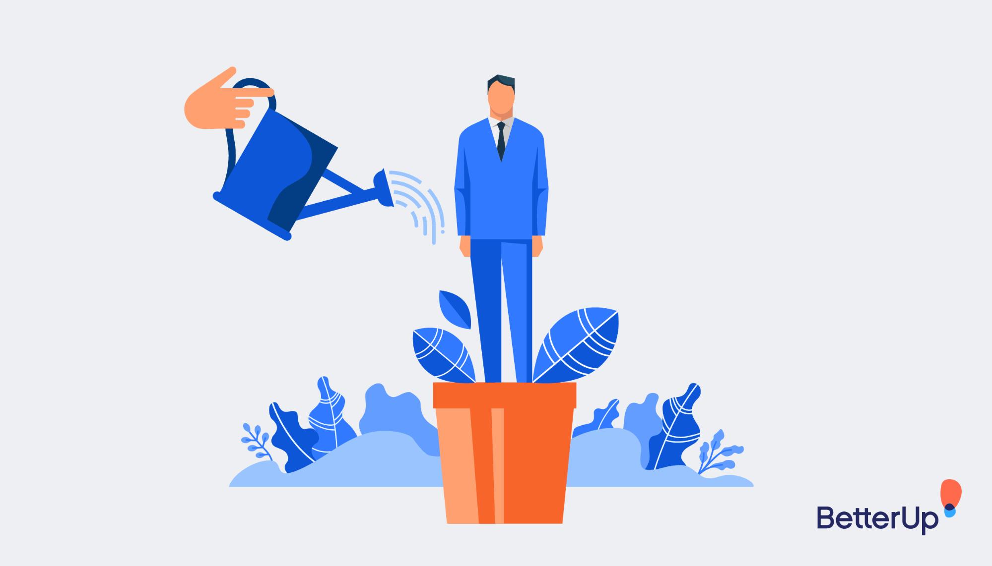 cartoon person in flowerpot - what is servant leadership