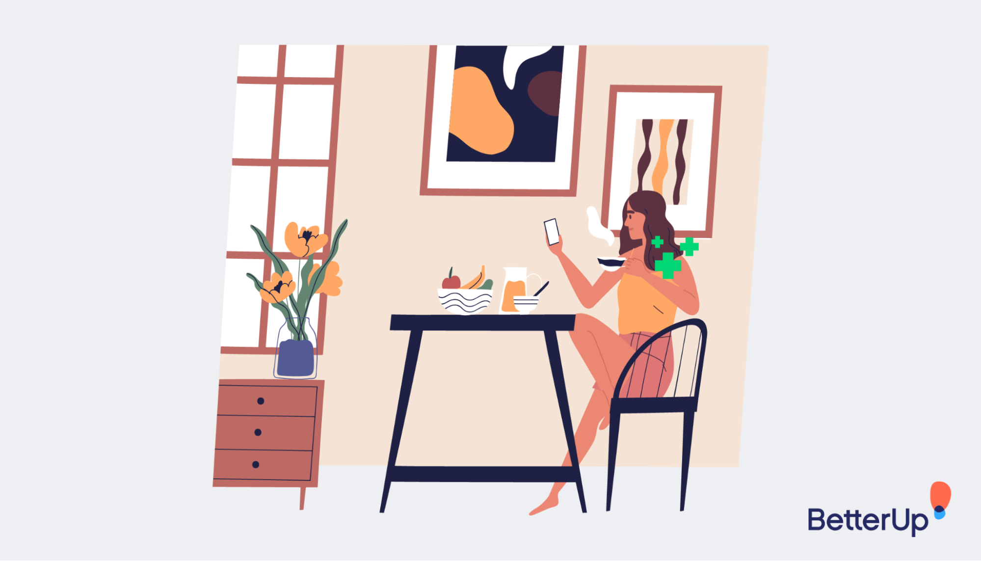 graphic-woman-holding-a-mobile-phone-sitting-at-a-the-table-building-resilience